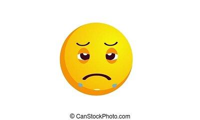 loopable, isolé, malheureux, animation, white., pleurer, emoji