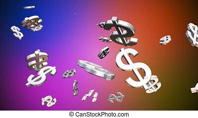 loopable, kolor, transmisja, multi, przelotny deszcz, zbiorowy, pieniądze, hd