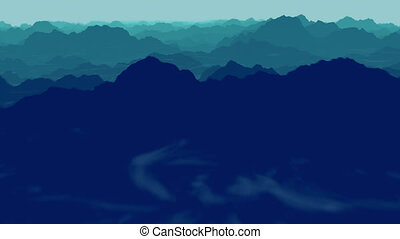 Loopable panoramic view of the cloudy mountain landscape with fog in the valley below