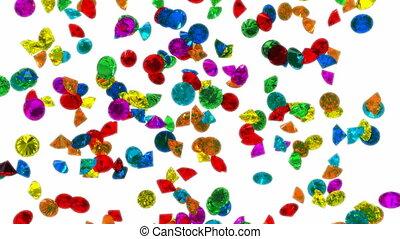 loopable, pluie, coloré, diamants