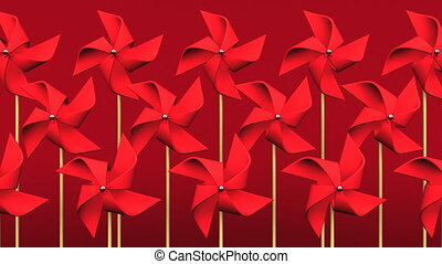 Loopable Red Pinwheels On Red Background.