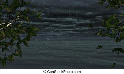 Loopable snowy coastal seascape animation