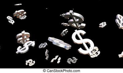 loopable, transmisja, grayscale, przelotny deszcz, zbiorowy, pieniądze, hd