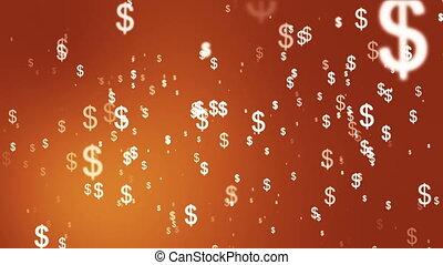 loopable, transmisja, pomarańcza, przelotny deszcz, zbiorowy, pieniądze, hd