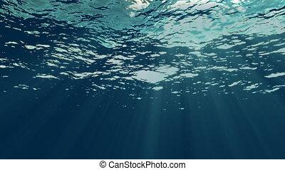 loopable, underwater, mit, leichte strahlen