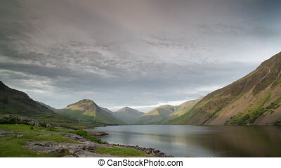 Loopable video of clouds and mountains, Lake District, ...