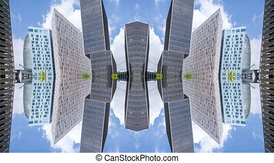 Boomerang style looping gif video of kaleidoscopic skyscrapers reflecting with clouds