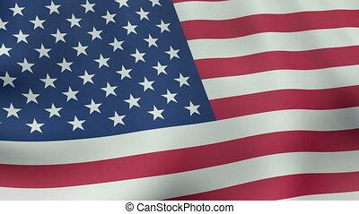 Loopable waving American flag animation
