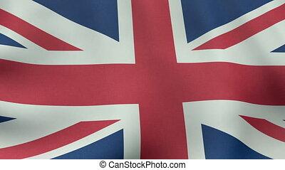 Seamlessly loopable waving British flag animation. 1080p HD.