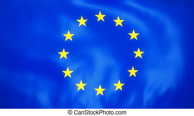Loopable Waving European Union Flag