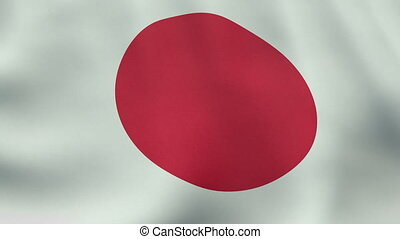 Loopable waving Japanese flag animation
