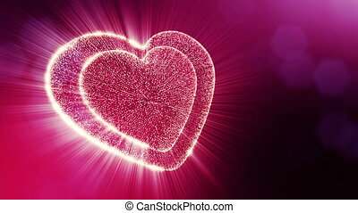 Looped 3d animation of glow particles form 3d red heart with depth of field and bokeh. For valentines day or wedding background as seamless background with space for text and light rays. V5