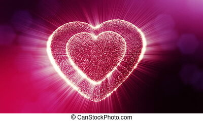 Looped 3d animation of glow particles form 3d red heart with depth of field and bokeh. For valentines day or wedding background as seamless background with space for text and light rays. V12
