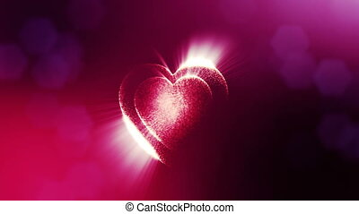 Looped 3d animation of glow particles form 3d red heart with depth of field and bokeh. For valentines day or wedding background as seamless background with space for text and light rays. V32