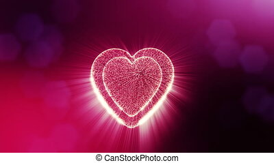 Looped 3d animation of glow particles form 3d red heart with depth of field and bokeh. For valentines day or wedding background as seamless background with space for text and light rays. V33