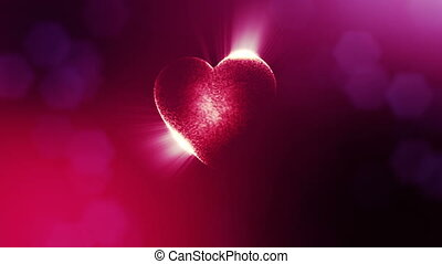 Looped 3d animation of glow particles form 3d red heart with depth of field and bokeh. For valentines day or wedding background as seamless background with space for text and light rays. V15