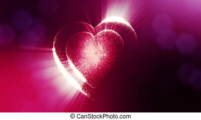 Looped 3d animation of glow particles form 3d red heart with depth of field and bokeh. For valentines day or wedding background as seamless background with space for text and light rays. V11