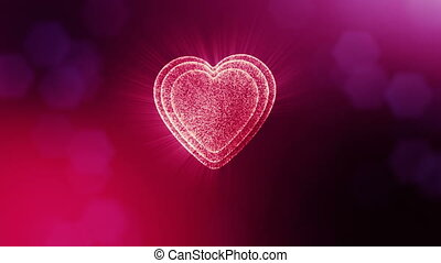 Looped 3d animation of glow particles form 3d red heart with depth of field and bokeh. For valentines day or wedding background as seamless background with space for text and light rays. V20