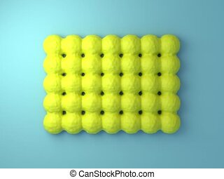 Looped 3d animation of growing balls arranged in rows.