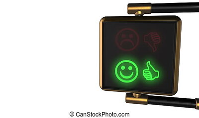 "Looped animated background: 3d old-style golden street traffic light with alternately changing the symbols Smiley ""Like/ Dislike"" red and green on the black pixels. 4k. Seamless loop. Alpha matte."