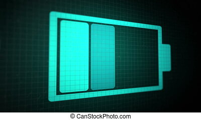 Looped animated background with charging battery icon blue color on the black pixel screen. Seamless loop.