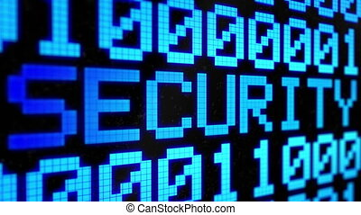 "Looped animated background with running lines with binary code and shimmering text ""SECURITY "" light-blue color on the black screen. Pixels. 4k. Seamless loop."