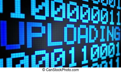 "Looped animated background with running lines with binary code and shimmering text ""UPLOADING"" light-blue color on the black screen. Pixels. 4k. Seamless loop."