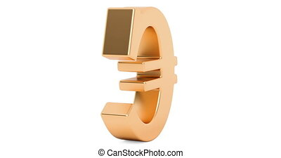 Looped animation of rotating euro symbol, 3D rendering isolated on white background