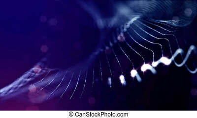 looped background of luminous particles, the theme of the microworld or space, science fiction or a beautiful mysterious background with shiny iridescent particles. Blue v16 strings