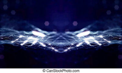 looped background of luminous particles, the theme of the microworld or space, science fiction or a beautiful mysterious background with shiny iridescent particles. Blue v3 strings