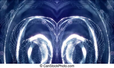 looped background of luminous particles, the theme of the microworld or space, science fiction or a beautiful mysterious background with shiny iridescent particles. Blue v1 rings