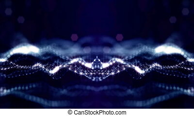 looped background of luminous particles, the theme of the microworld or space, science fiction or a beautiful mysterious background with shiny iridescent particles. Blue v1 strings