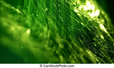 looped background of luminous particles, the theme of the microworld or space, science fiction or a beautiful mysterious background with shiny iridescent particles. Green v 3