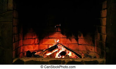 Looped: Fireplace. Burning flame.
