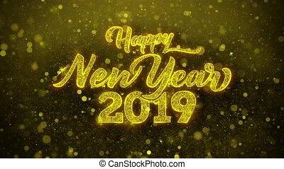 looped., karte, einladung, wünsche, 2019, grüße, jahr, neu , firework, feier