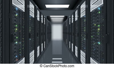 Looped Motion Through the Server Racks in Data Center DOF Blur. Beautiful Seamless 3d Animation with Flickering Computer Lights. Big Data Cloud Technology Concept. 4k Ultra HD 3840x2160.