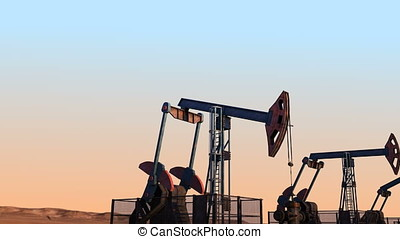 Looped move along oil pump jacks against clear sky width...