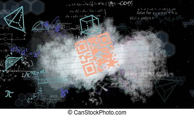 Animation of a looped QR code floating on a piece of paper over multiple shapes and mathematical equations floating on black background digital composite video