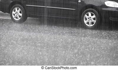 Looped video. The car under heavy rain. FullHD video
