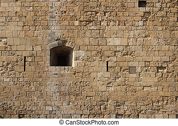 Loophole in castle close-up. Cyprus Paphos - Loophole in...