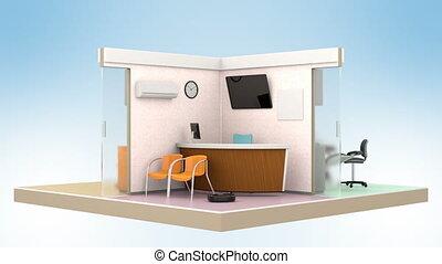 Looping animation of dental clinic interior