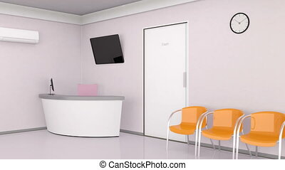 Looping animation of dental clinic interior.