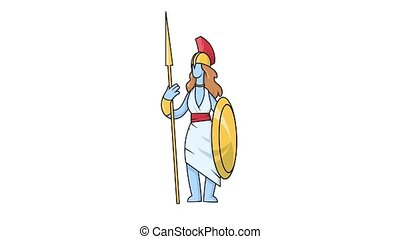 Looping animation of Greek goddess Athena on white background with alpha channel mask to edit transition. Ancient Greece mythology animated character.