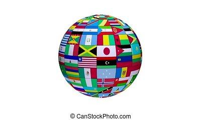 looping, en, ronddraaien, globe, met, alles, wereld, landen, vlaggen, met, witte achtergrond