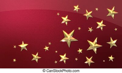 Looping Gold Stars on Metallic Red