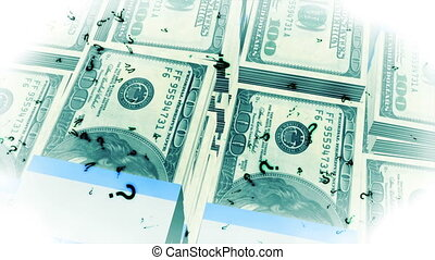 Looping Question Marks and Money Animated Background