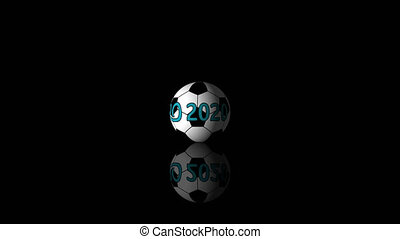 Looping realistic animation of the spinning 3d soccer ball with reflection. 4K resolution including alpha channel. Animation with Alpha (transparent background) for easy use in your video.