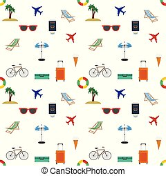 Looping travel seamless background. Flat Vector.