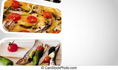 Looping video of seafood dishes close up