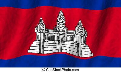 looping, vlag, cambodja, achtergrond
